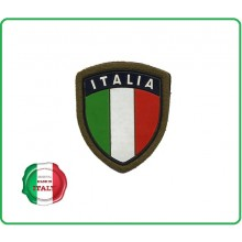 Patch Scudetto Italia Plastificato Verde con Velcro  Art.GM001