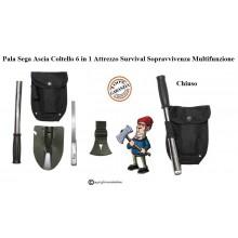Pala Sega Ascia Coltello 5 in 1 Attrezzo Survival Sopravvivenza Multifunzione Militare Caccia Pesca Montagna MFH Art. 27037