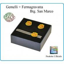 Set Gemelli Camicia + Fermacravatta Stemma Brigata Marina San Marco Prodotto Ufficiale Art.MM2122