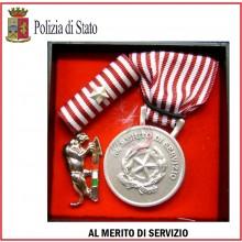 Set Medaglie Al Merito di Servizio Polizia di Stato Argento Art.Fav-Set9