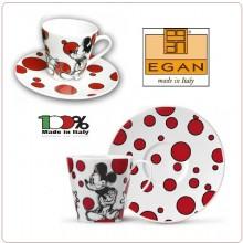 Mug Tazza Cappuccino Mickey Mouse Pallini Rossi in Porcellana Decorata, by EGAN DISNEY Art.PWM12/1T