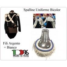 Coppia di Spalline Uniforme Storica GUS Carabinieri Argento + Argento - Bianco Bordo Azzurro per Brigadieri e Vice Brigadieri  Art.NSD-GUS-BRIG