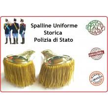 Coppia di Spalline Uniforme Storica Polizia di Stato Oro + Oro Dirigenti Art.NSD-PS-OO