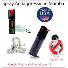 Spray Antiaggressione Anti Aggressione Portachiavi Mamba Difesa Personale Libera Vendita Art.MM-MAMBA