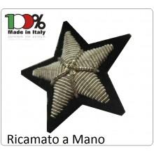 Stella Argento Canottiglia 5 Punte Militare Ricamata a Mano Art.NSD-STELLA-M
