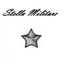 Stella Stellette Militari Argento Bordo Nero  5 Punte cm 2.00 Art.S7