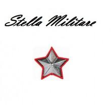 Stella Stellette Militari Argento Bordo Rosso  5 Punte cm 2.00 Art.S6