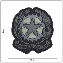 Toppa 3D PVC Stella Italia Grigio Logo Repubblica Italiana Tridimensionale con Velcro Art.444130-7036