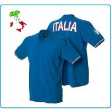 T-shirt Manica Corta Collo a V Azzurra Italia Art.987446