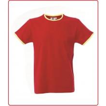 T-shirt Maglietta Manica Corta Girocollo Rossa Profili Gialli Art.990234