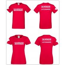 T-shirt Salvataggio Lifeguard Bagnino Uomo o Donna Rossa Art.LIFE-2