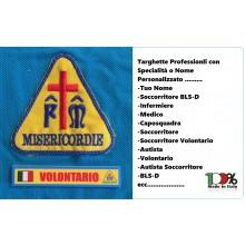 Targhetta Plastificata Professionale di Specialità o Nominativa Misericordia Italiana Art.MISE-N