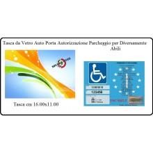 Tasca da Vetro Auto Porta Autorizzazione Parcheggio Per Diversamente Abili Disabili  cm 16x11 Art.DISABILI