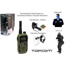 Coppia di Ricetrasmittenti Professionali Twintalker 9500 TOPCOM Impermeabile Militare Sicurezza Esercito Soft Air Bodyguard Art.464260