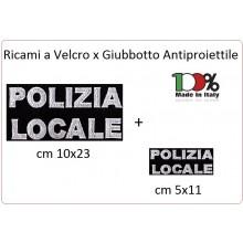 Patch Toppa Vendita a Coppia Grande 23x10 + Piccola 11x5 POLIZIA LOCALE per Giubbotto Antiproiettile o Gilet Tattico Art.PL-23x10
