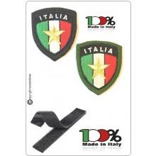 Patch Toppa Scudetto con Velcro Ricamato ITALIA + LOGO Stella Esercito Italiano Art.IT-EI