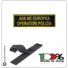 Ricamo Patch Toppa con Velcro Lineare A.E.O.P. cm 12 x 3 Associazione Europea Operatori Polizia Art.TUS-07
