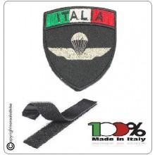 Patch Scudetto con Velcro Paracadutisti Folgore Parà Civile Nero + Bandiera Art.PAR-X1