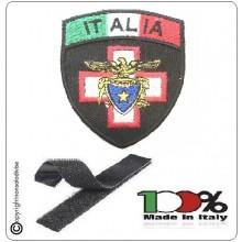 Patch Toppa Scudetto con Velcro Ricamato ITALIA + LOGO SOCCORSO ALPINO E SPELEOLOGICO  Art.IT-SAES