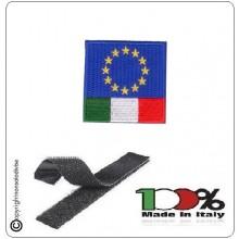 Patch Toppa Bandiera EuroItaly Euro Italy Ricamato con Velcro 4x4 cm Art.NSD-EUI4
