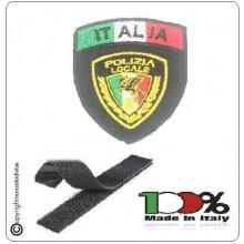 Patch Scudetto con Velcro Polizia Locale Nuovo Logo Nazionale Nero + Bandiera Art. PL-NEW