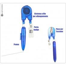 Penna + Porta Badge Retrattile a Filo per Ufficio Infermieri Dottori Art.ALI-2-N