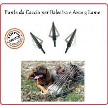 Punte Per Frecce Lama Acciaio Arco Balestra Caccia  3 Lame Art.CF142D