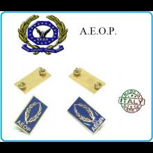 Mostrine Alamari da Colletto Giacca A.E.O.P. Associazione Europea Operatori Polizia  Art.NSD-AEOP-1