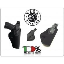 Fondina Professionale  da Cintura in Cordura con Sicura Nera Vegha Holster Italia Vigilanza Polizia Sicurezza  Art.T2
