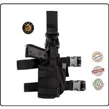 Fondina Cosciale Tactical in Cordura Nera o Verde  Vega Holster Militare Vigilanza Sicurezza Polizia Carabinieri Art.PA280