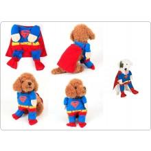 Vestito Completo + Mantello Gatto Cucciolo di Cane Cotone Superman Festa Art.SUPERMAN