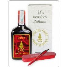 Un pensiero Italiano, Bottiglia di Liquore Amaro da 70 cl. + Set Penna con Astuccio Vigili Del Fuoco  VVFF Art.VF272