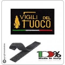 Patch Toppa Ricamata con Velcro Vigili del Fuoco + bandiera Italia cm 5 x 8 Art.NSD-VVFF-B
