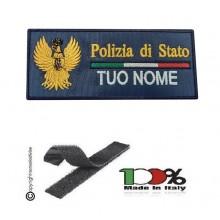 Toppa Petch Targhette con Velcro Logo + Nome Personalizzato per Polizia di Stato Prodotto Ufficiale cm 10x5 Art. MP-NOME