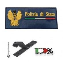 Toppa Petch Targhette con Velcro Logo + Scritta Polizia di Stato Prodotto Ufficiale cm 10x5 Art. MP-PSX