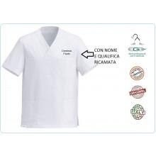 Casacca Leonardo Personalizzata con Nome Medicale Bianca Medico Infermiere Dentista Art.5500001A