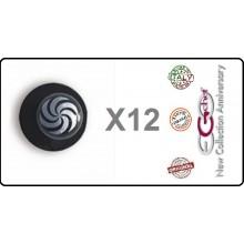 Bottone Bottoni Funghetto per Giacca Cuoco Chef Confezione 12 Pezzi Vortice Nero Ego Chef Art.BOTT-16
