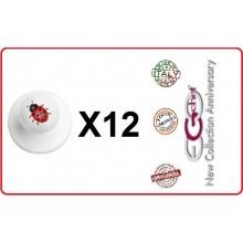 Bottone Bottoni Funghetto per Giacca Cuoco Chef Confezione 12 Pezzi Coccinella Portafortuna Ego Chef Art.BOTT-23