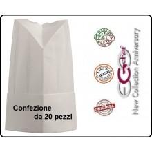 Cappello Berretto Cuffia Moon Carta TNT Chef Cuoco H25 Confezione 20 pezzi Ego Chef Italia Art.Y648000x20