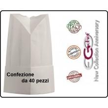 Cappello Berretto Cuffia Moon Carta TNT Chef Cuoco H25 Confezione 40 pezzi Ego Chef Italia Art.Y648000x40