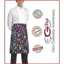 Grenbiule Falda Banconiere Con Tascone Color Skulls Teschi Colorati  cm 40x70 Ego Chef Italia Art.6100135A