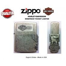 Zippo Accendino Standard HD Eagle  Harley Davidson  Colore Metallo Logo a Rilievo Art.Z-M2