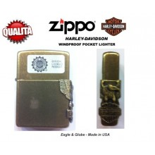 Zippo Accendino Standard HD Eagle  Harley Davidson  Colore Oro Logo a Rilievo Art.Z-M3