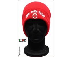 Berretto Zuccotto Papalina Invernale Nuovo Rosso Logo Croce Rossa Italiana CRI Art.TUS-113