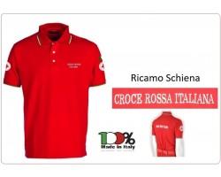 Polo Rossa Manica Corta Croce Rossa Italiana Nuovo Capitolato Scritte e Toppe Ricamate Art.SS-POLO-CRI-R