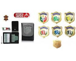 Portafoglio Portadocumenti Vera Pelle con Placca Guardia Giurata o GPG IPS in Vari colori Originale Tuscan Art. 1WD-GG-GG+