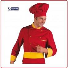 Giacca Cuoco Chef Isacco Giallo - Rosso Art.059214