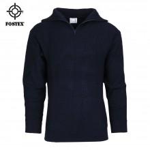 Pullover Maglione Modello Alpino Navigazione Blu Navy Cerniera sul Collo Fostex Art. 1313210-2