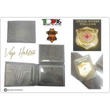 Portafoglio Portadocumenti con Placca Estraibile Croce Rossa Italiana C.R.I. CRI  Vega Holster Italia Art.1WG117