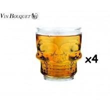 Vin Bouquet FIA 471 Set di 4 Bicchieri di Vetro Tipo Teschio per Whisky, Vodka, Liquore Art. FIA471